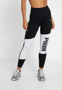 Puma - LOGO GRAPHIC  - Leggings - puma black/puma white - 0