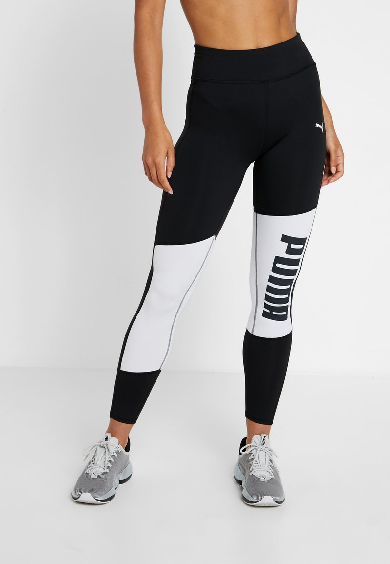 Puma - LOGO GRAPHIC  - Leggings - puma black/puma white