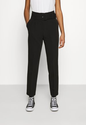 BELTED SUIT PANTS - Trousers - black