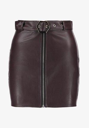 HEXAGON BELT ZIP FRONT MINI SKIRT - Mini skirt - brown