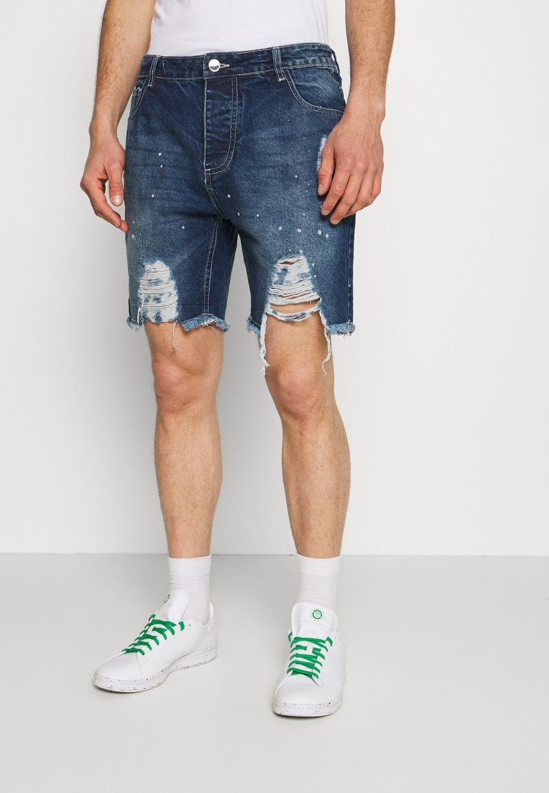 Good For Nothing - DISTRESSED - Denim shorts - blue