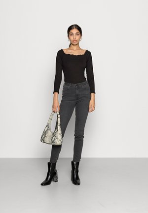 LETTUCE HEM BARDOT BODYSUIT 2 PACK - Long sleeved top - grey/black