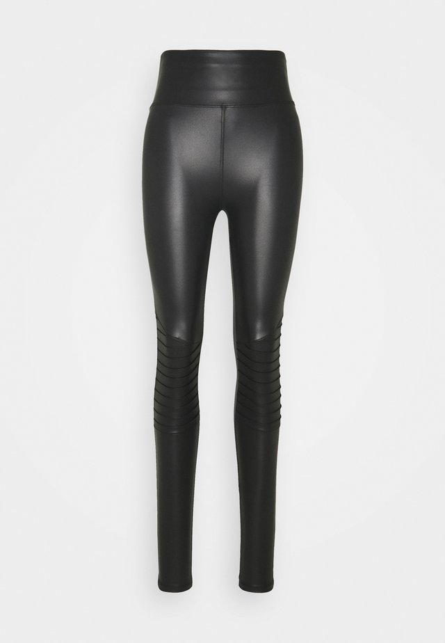 WET LOOK BIKER - Leggingsit - black