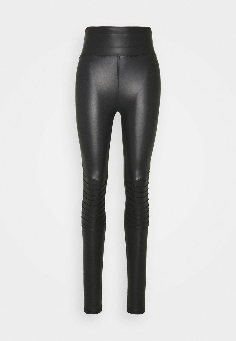 New Look Tall - WET LOOK BIKER - Leggings - black