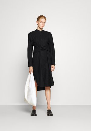 TIED SHIRT DRESS - Shirt dress - black