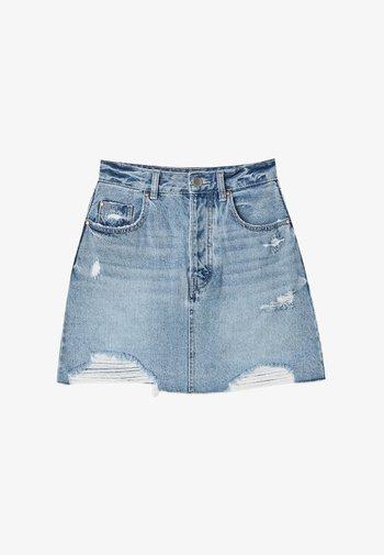 MINI  IM ACID-WASH 01330599 - Denimová sukně - blue denim