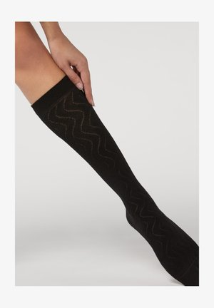 Knee high socks - schwarz - black print