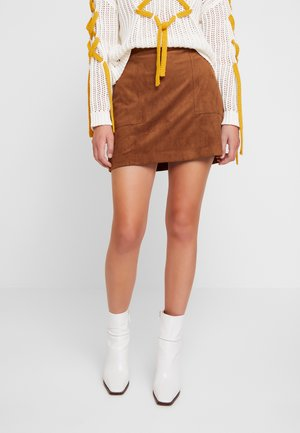 VEGAN MINI - A-line skirt - medium brown