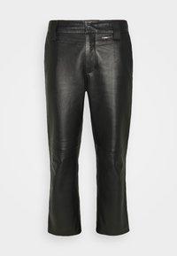 WORK PANT - Kožené kalhoty - black