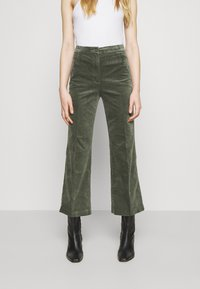 Monki - WENDY TROUSERS - Trousers - khaki green medium dusty solid - 0