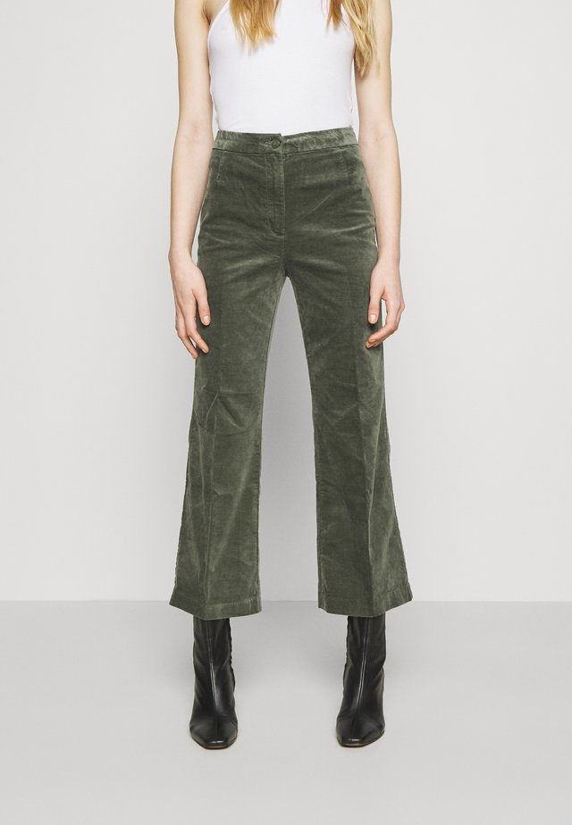 WENDY TROUSERS - Trousers - khaki green medium dusty solid