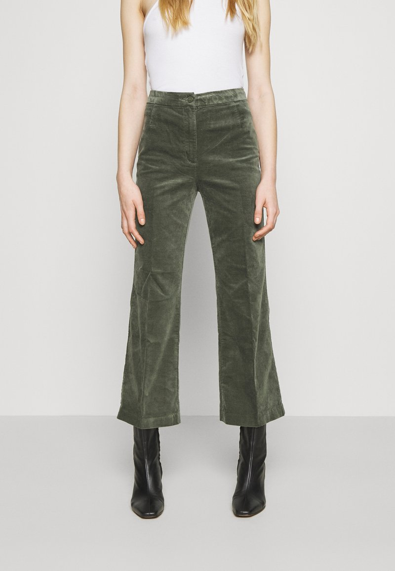 Monki - WENDY TROUSERS - Trousers - khaki green medium dusty solid