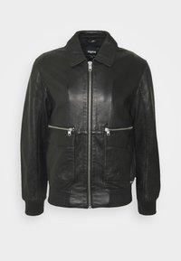 DELMORE - Leather jacket - black