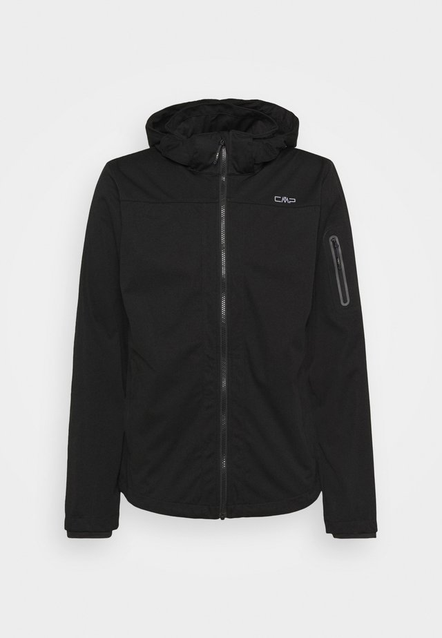 MAN ZIP HOOD JACKET - Softshelljas - nero
