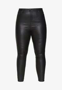 Simply Be - HIGH WAIST COATED SKINNY - Pantalón de cuero - black - 4