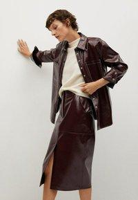 Mango - Leather skirt - donkerrood - 5