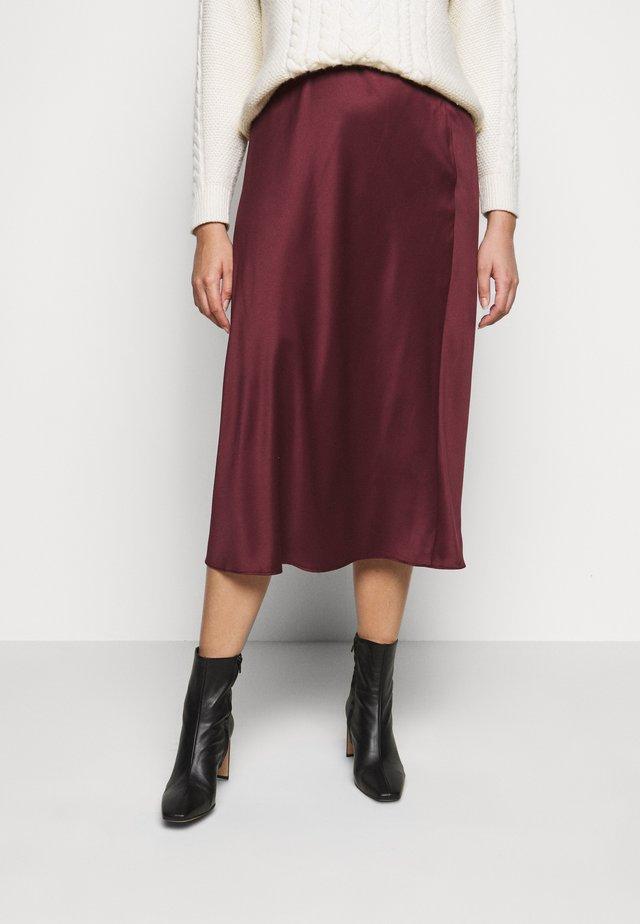 COLUMN MIDI SKIRT - A-line skirt - merlot