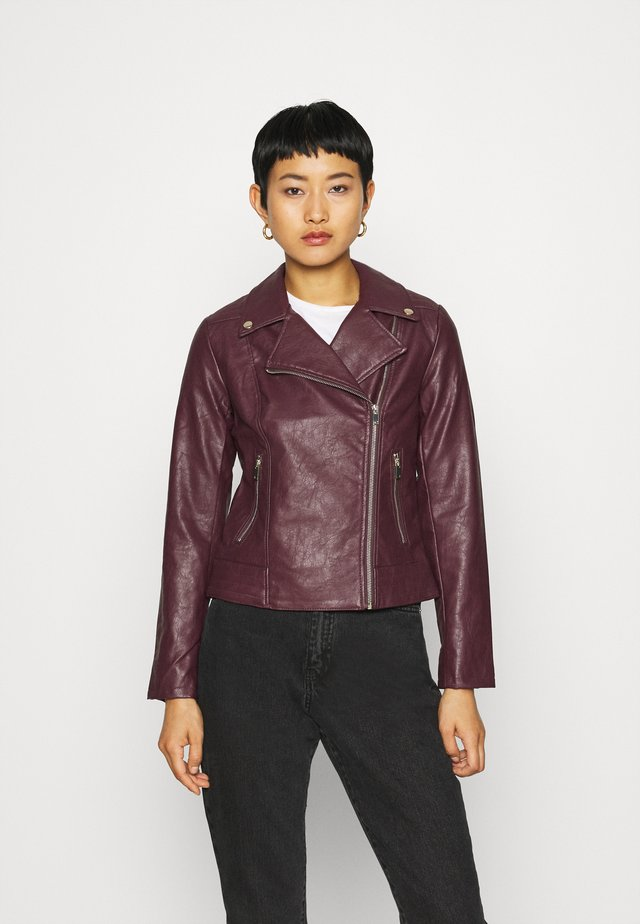 BIKER JACKET - Giacca in similpelle - berry