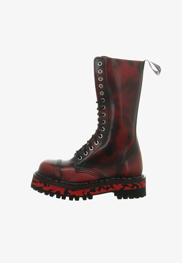 Lace-up boots - red/black