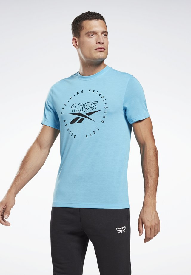 GS TRAINING SPEEDWICK TEE - Print T-shirt - light blue