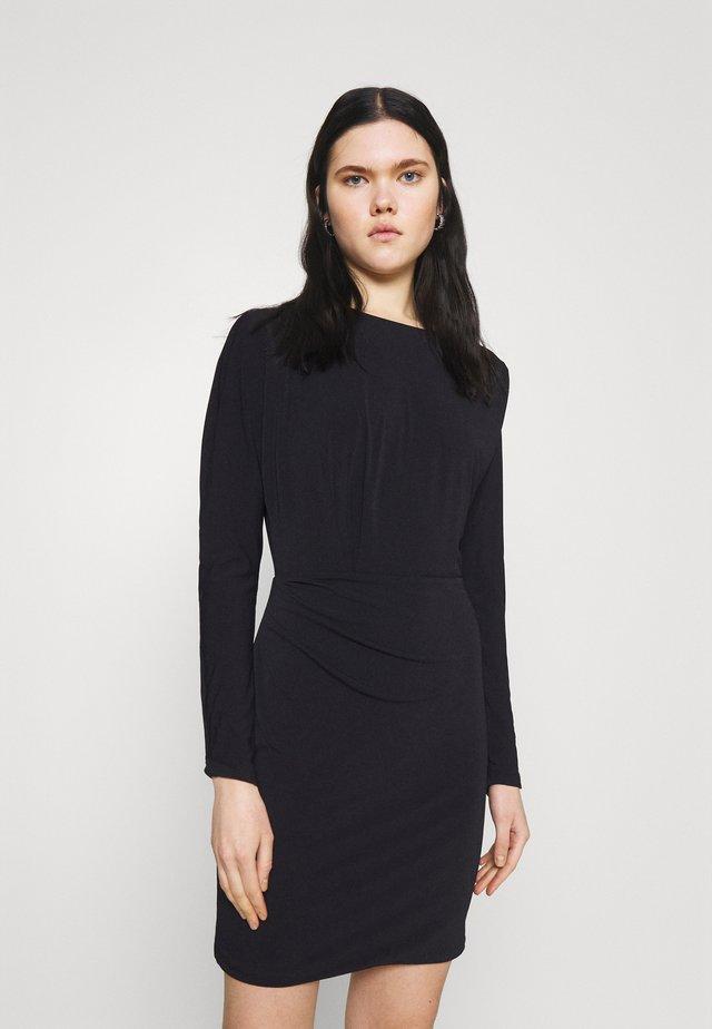 CARA DRAPED MINI DRESS - Robe fourreau - black