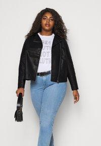 New Look Curves - BIKER - Faux leather jacket - black - 4