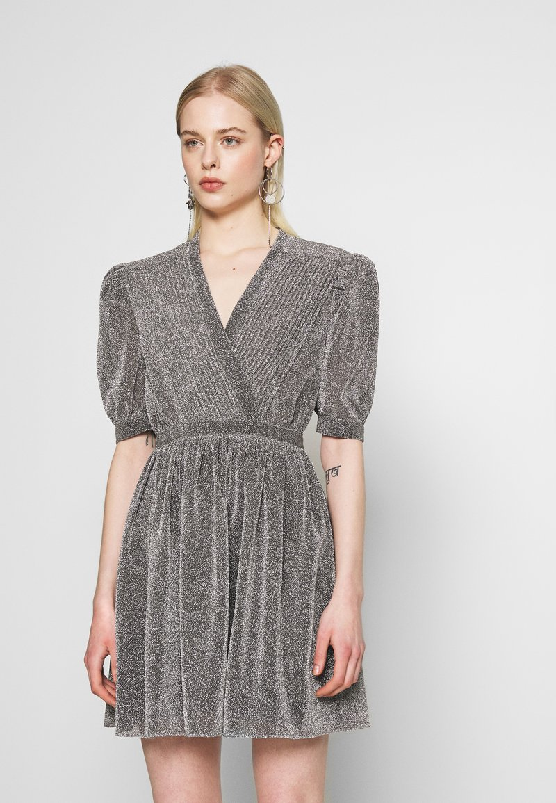 House of Holland - VNECK MINI DRESS - Cocktail dress / Party dress - silver