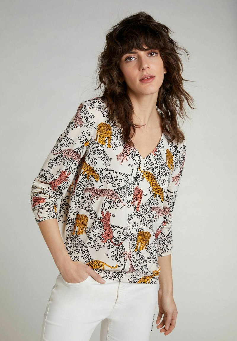 Oui - Blouse - offwhite red