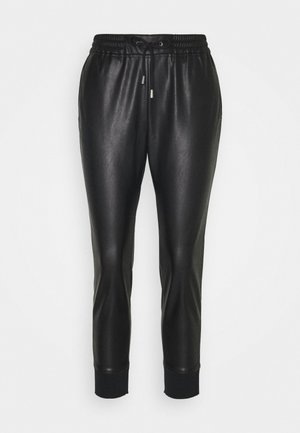 JOGG PANTS FAKE LEATHER - Trousers - black
