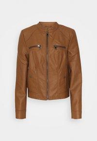 Vero Moda Tall - VMTEXAS SHORT COATED JACKET - Faux leather jacket - cognac - 0