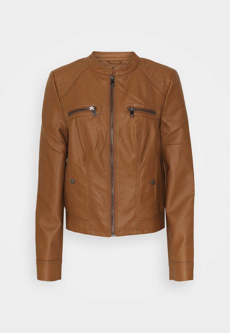 Vero Moda Tall - VMTEXAS SHORT COATED JACKET - Faux leather jacket - cognac