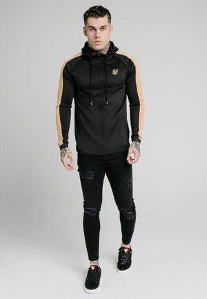 ZIPTHROUGH PANEL HOODIE - veste en sweat zippée - black/gold