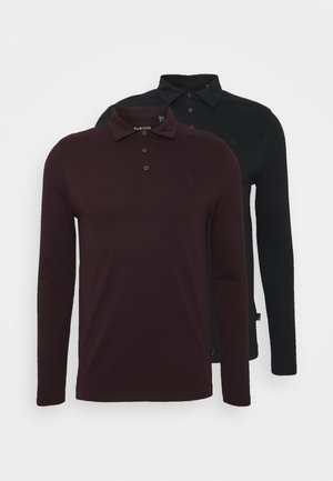 2 PACK - Polo shirt - black / bordeaux