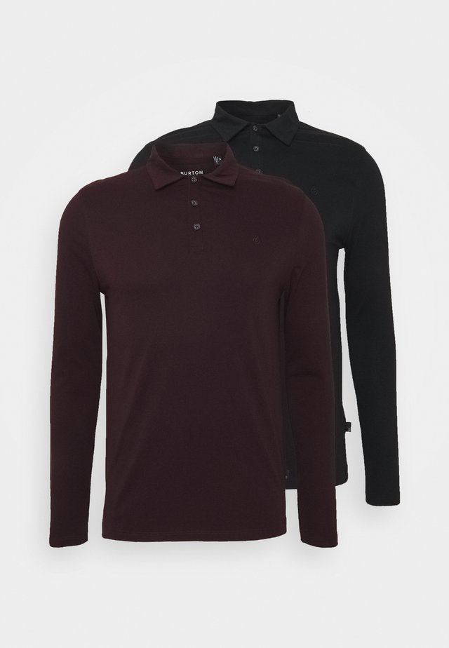2 PACK - Poloshirt - black / bordeaux