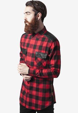 SIDE ZIP LEATHER SHOULDER FLANELL - Shirt - black/red