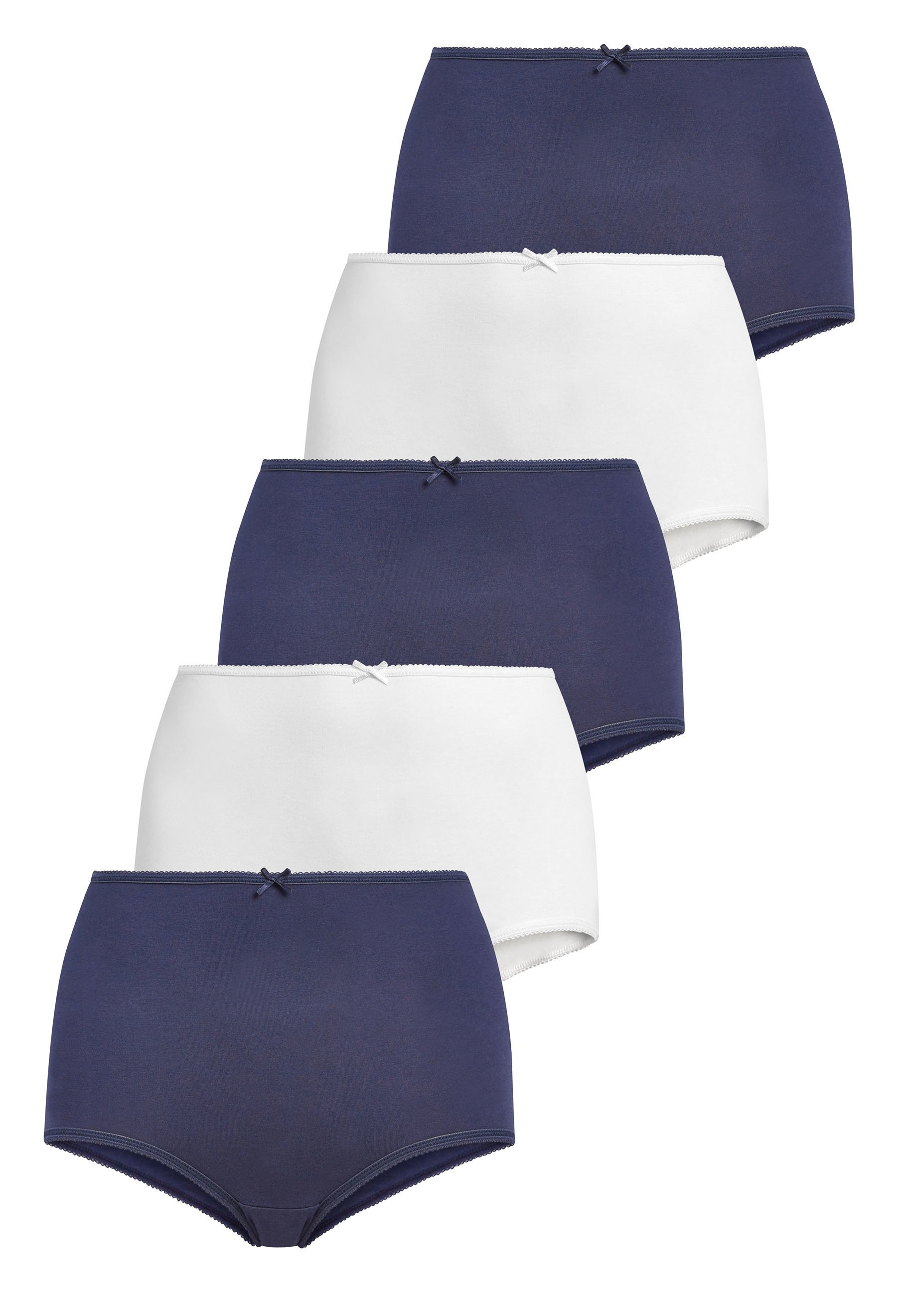 Femme NAVY/WHITE FULL BRIEF COTTON KNICKERS FIVE PACK - Shorty