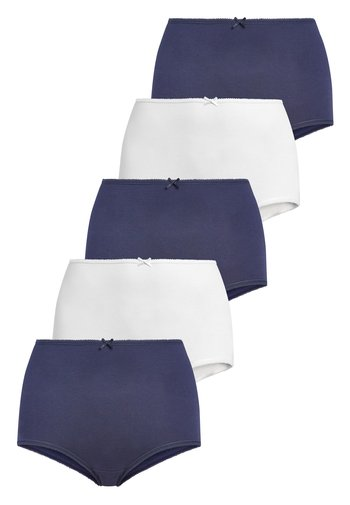 NAVY/WHITE FULL BRIEF COTTON KNICKERS FIVE PACK - Culotte - blue