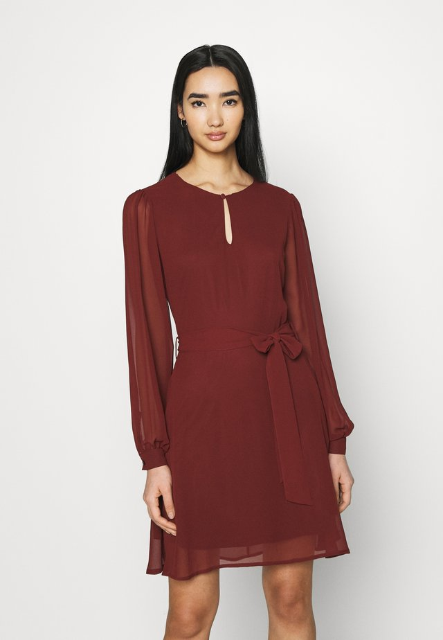 BALOON SLEEVE MINI DRESS - Cocktail dress / Party dress - wine