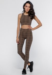 Heart and Soul - HOUNDSTOOTH  - Collant - black/camel - 1