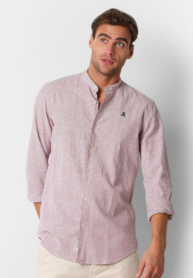 STRIPE SHIRT WITH STAND-UP COLLAR - Camicia - burgundy stripes