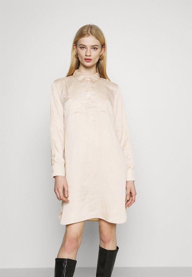 HALF PLACKET SHIRT DRESS - Shirt dress - beige