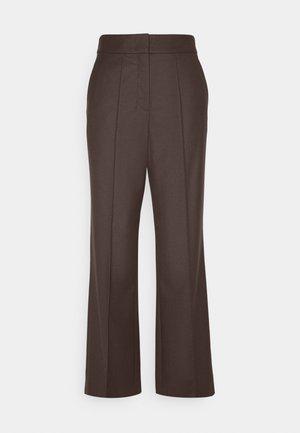 WIDE LEG PANTS HIGH WAISTED PINTUCKS - Trousers - mocca brown