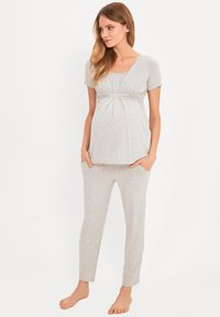 Cool Mama - BAMBOO MATERNITY & NURSING PYJAMA 2 IN 1 BASIC - Pyjama - grey - 0