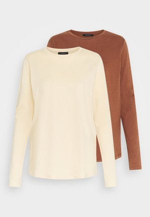 2 PACK - Langærmede T-shirts - beige/brown