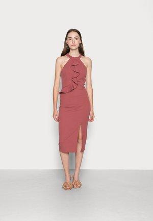 SASHA FRILL NECK MIDI DRESS - Cocktail dress / Party dress - dusty rose pink