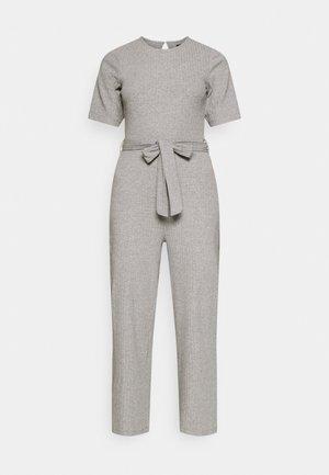 BASIC - Ribbed short sleeves belted jumpsuit - Overal - mottled grey
