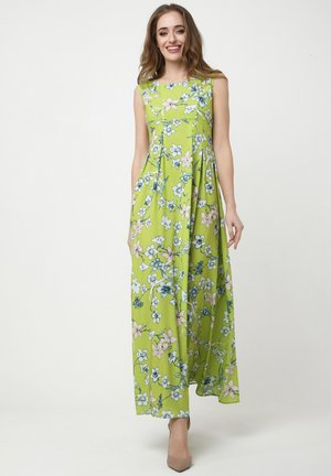 KANTRI - Maxi dress - hellgrün, weiß