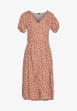 WOVEN PUFF SLEEVE MIDI DRESS - Day dress - dusty brown