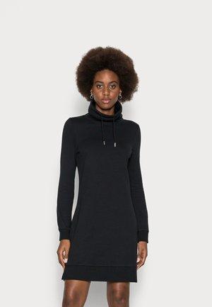 WIDE ROLL NECK DRAWCORD DRESS - Day dress - black