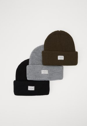 3 PACK - Beanie - black/lightgrey/live
